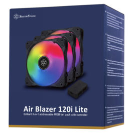 SilverStone Air Blazer 120i Lite Brilliant 3-in-1 addressable RGB fan pack with controller
