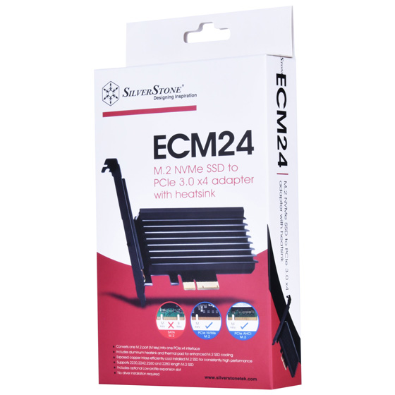 SilverStone ECM24 M.2 NVMe SSD to PCIe 3.0 x 4 adapter with heat sink