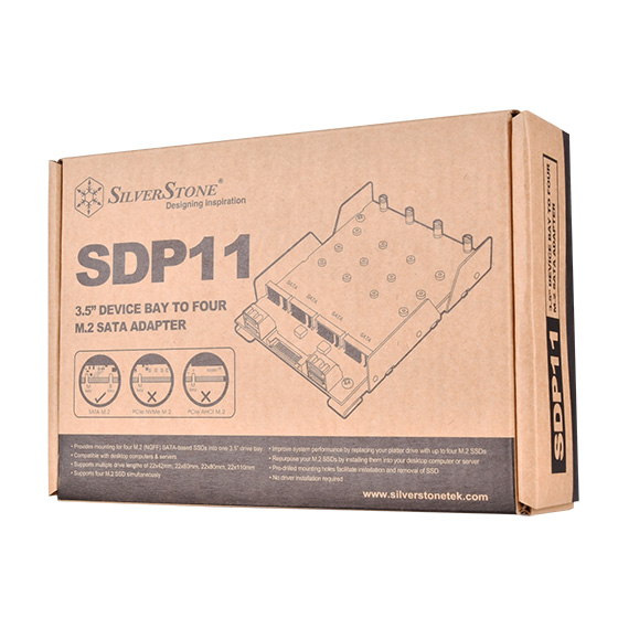 SilverStone SDP11-  3.5 inch drive bay to 4 x M.2 SATA Based SSDs Adapter
